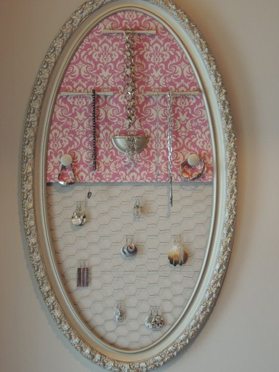 Gold and Pink Damask Hanging Jewelry Organizer with Chicken Wire