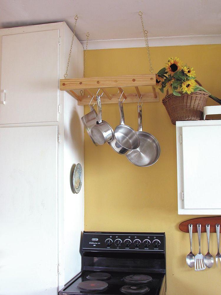 DIY Wooden Hanging Pot Rack | Hanging pot racks, Pot rack and Wall ...