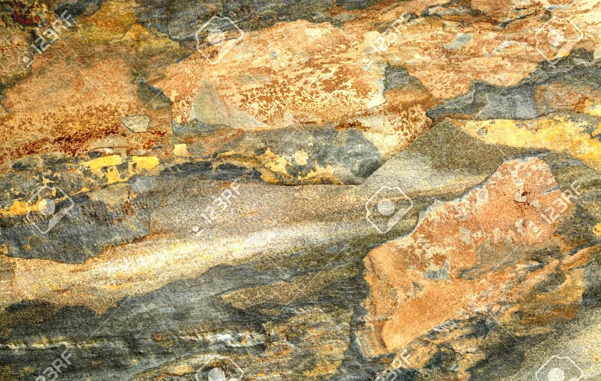 Abstract Landscape In A Flat Multi Color Foliated Slate Rock ...