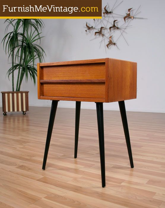 Mid Century Modern Teak Side Table Spindle Legs ...