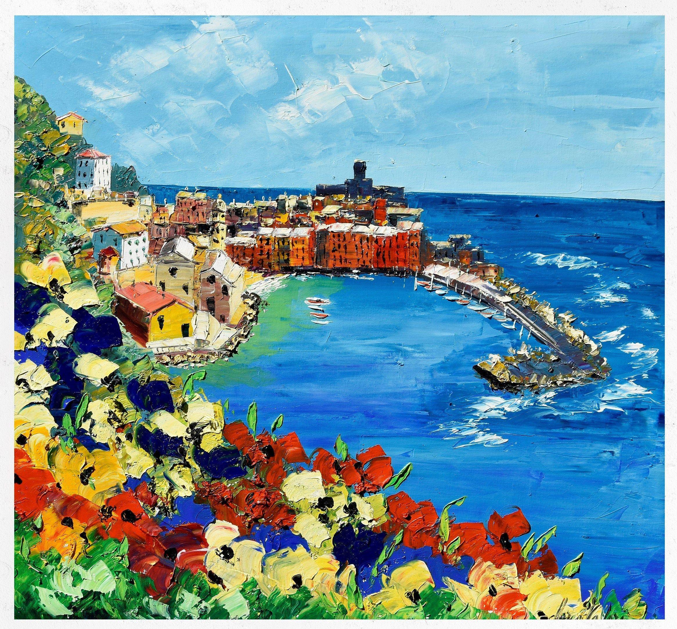 Pittura di Vernazza, Cinque Terre, pittura su tela ...