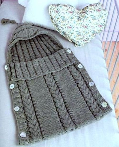 83d1617f9 Cabled Baby Sleeping Bag - Free Pattern (Beautiful Skills - Crochet ...
