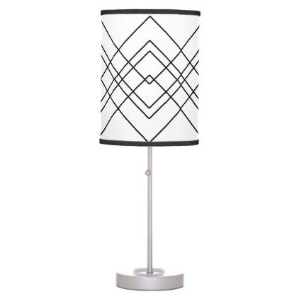 Abstract Geometric Pattern Black And White Table Lamp Black