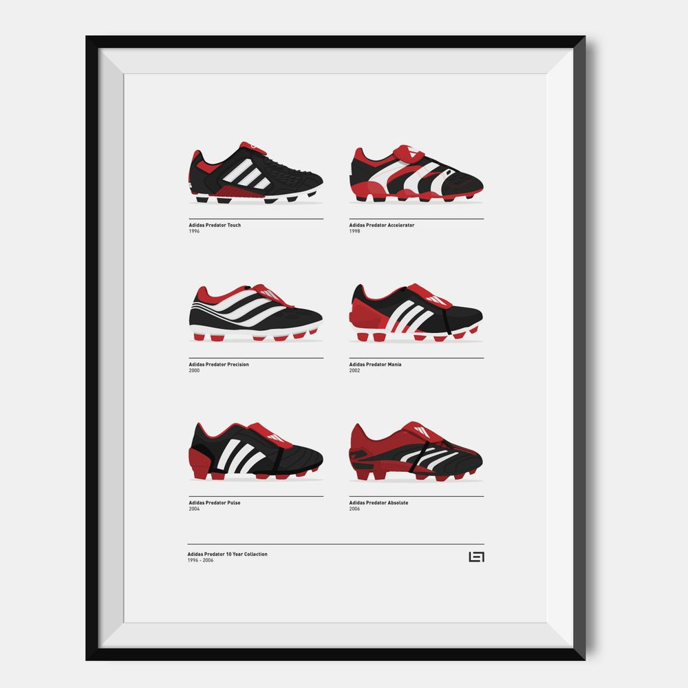 low priced f03eb a1c67 ... discount adidas predator 1996 2006 collection illustration print on  white paper. a3 a2 size print