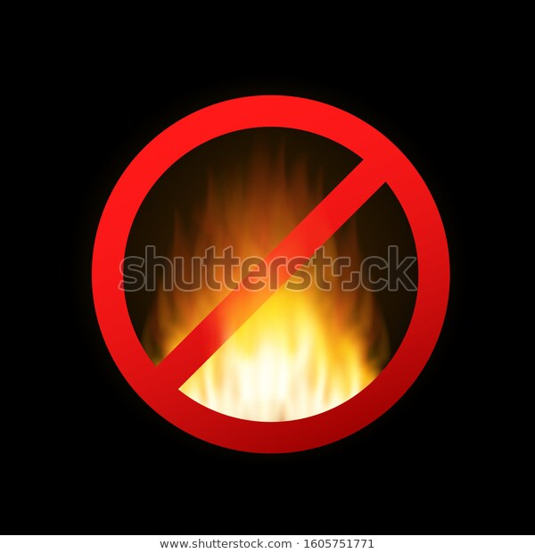 No Fire No Open Flame Sign Stock Vector Royalty Free 1605751771 Open Flame Flames Fire