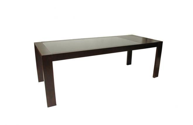 Table de cuisine / salle à manger à rallonges en chêne wengé et