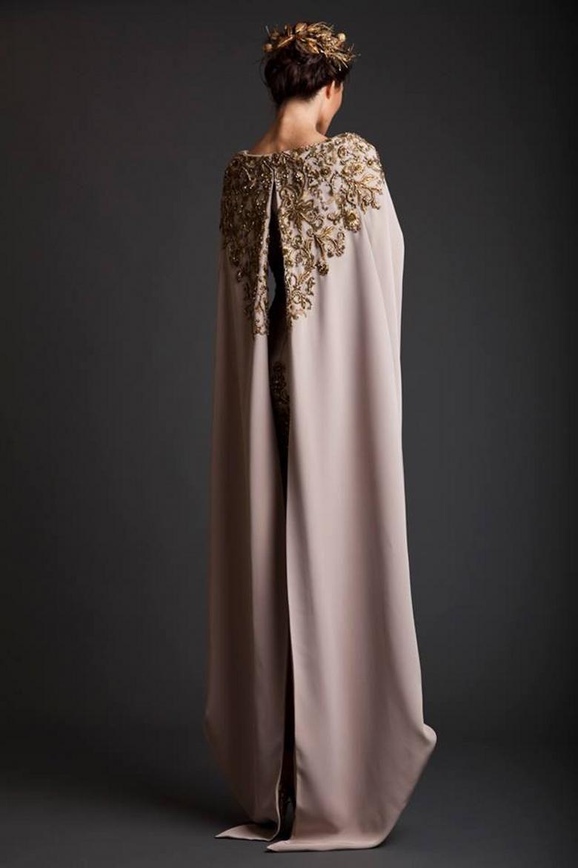 Custom made evening dresses sexy prom dress cape crew sheath