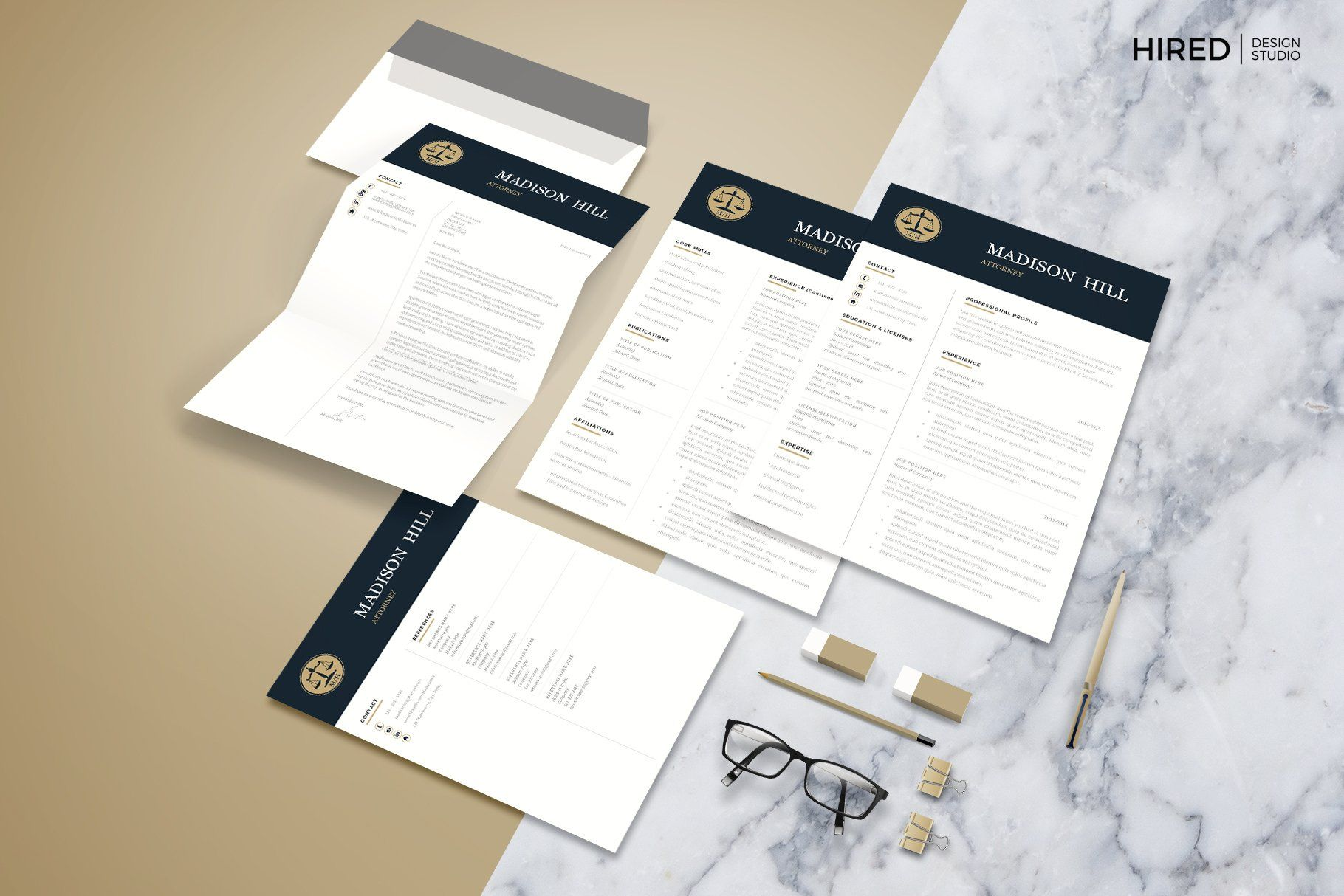 Attorney resume template lawyer cv by hired design studio