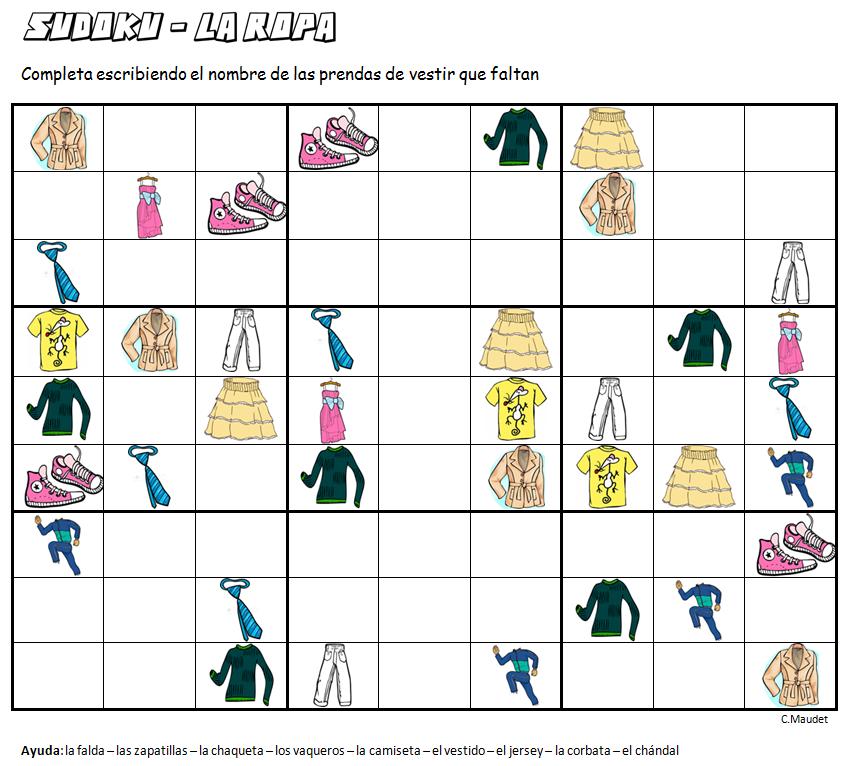 sudoku la ropa completa escribiendo el nombre de las prendas de vestir que faltan juegos para. Black Bedroom Furniture Sets. Home Design Ideas
