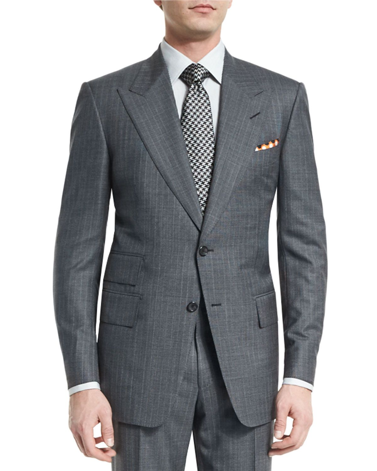 TOM FORD Windsor Base MicroPinstripe Suit, Gray is part of Pinstripe suit - Shop Windsor Base MicroPinstripe Suit, Gray from TOM FORD at Neiman Marcus, where you'll find free shipping on the latest in fashion from top designers