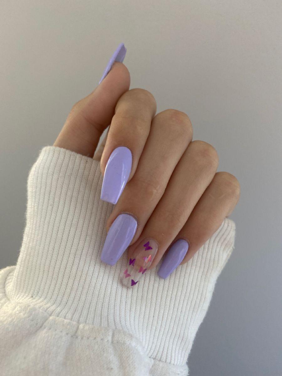 Acrylic Nails In 2020 Lilac Nails Purple Acrylic Nails Acrylic Nails Coffin Short