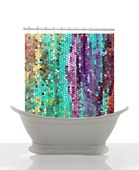 Artistic shower curtain morning has broken by for Purple mosaic bathroom accessories