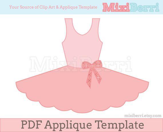 Ballet Tutu Dress Applique Pattern PDF Template Instant