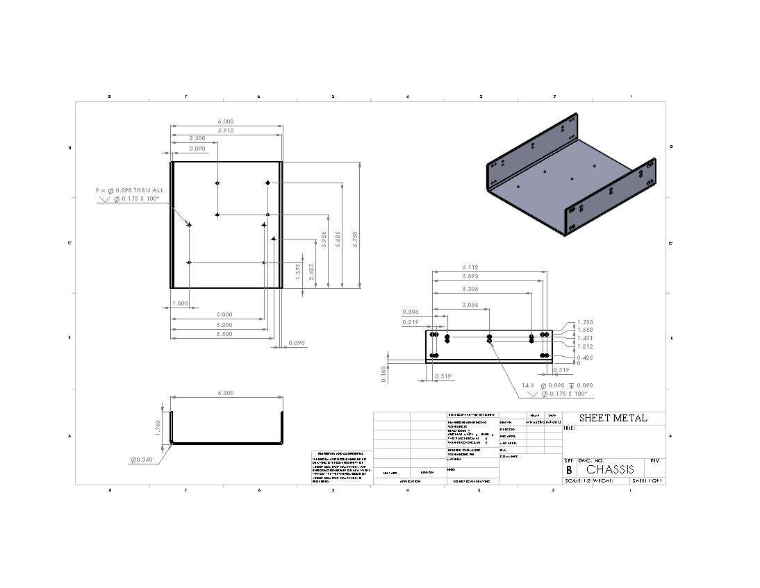 Chassis Drawing Sheet In 2019 Sheet Metal Drawing
