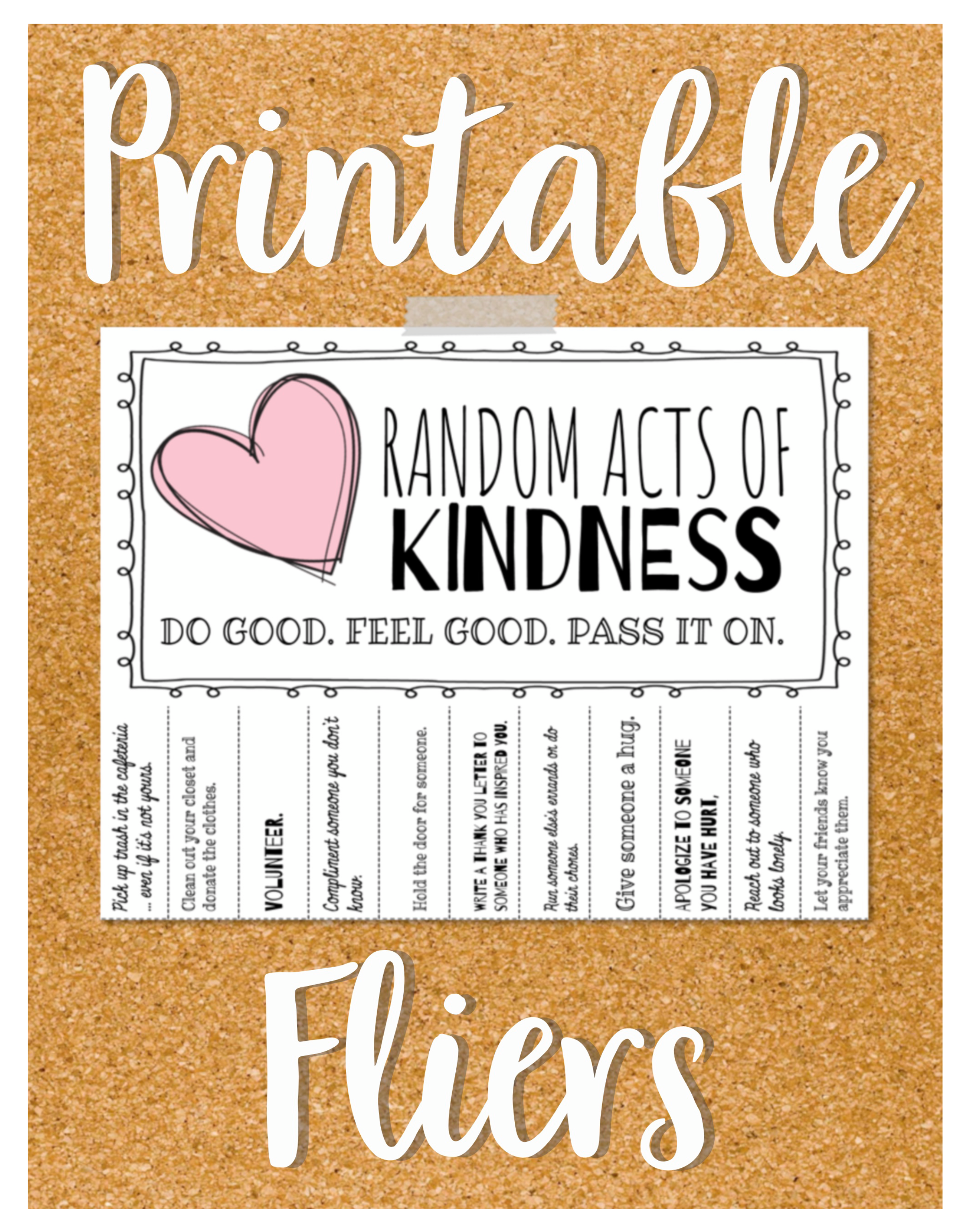 Random Acts Of Kindness Flier And Reflection Worksheet In