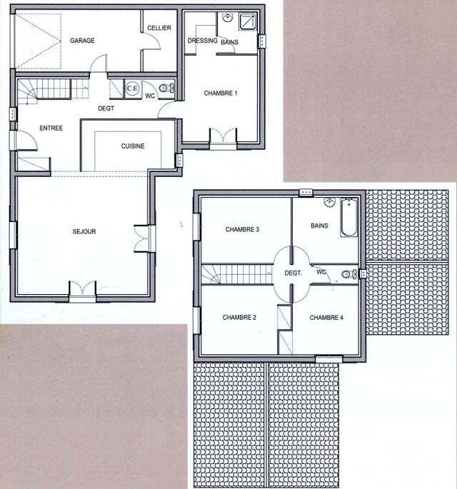 plan-maison-moderne-etage-1jpg (500×351) plans Pinterest - plan maison 110m2 etage