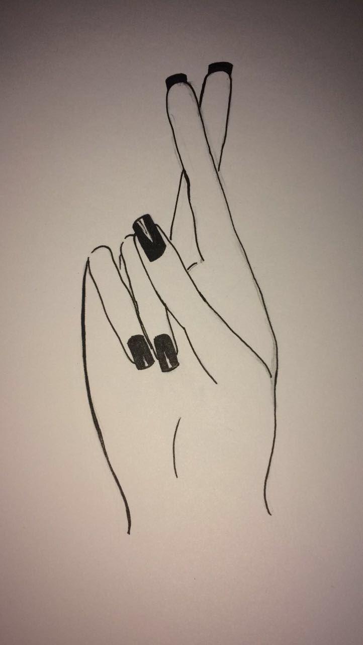 Fingers crossed easy drawing