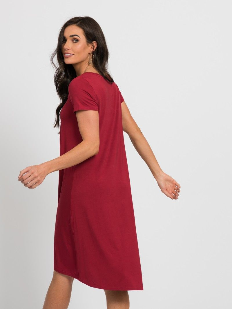 d1974771ac57 Agnes   Dora - Hi-Lo Dress V-Neck Raspberry