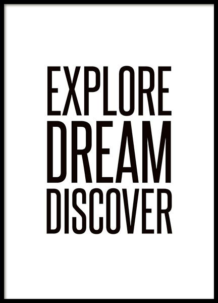 Print Met Grote Tekst Explore Dream Discover Teksten Fotolijstjes