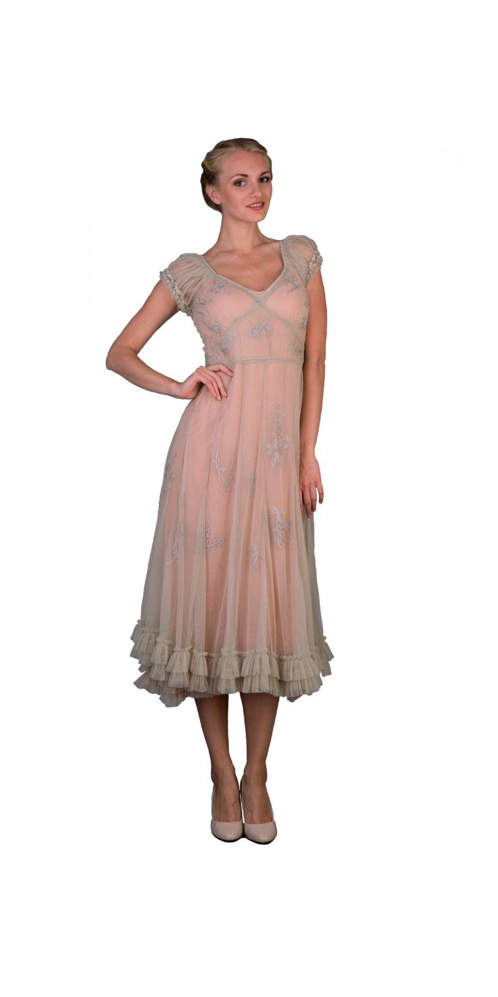 Ballerina tea party dress in antique pink by nataya vintage