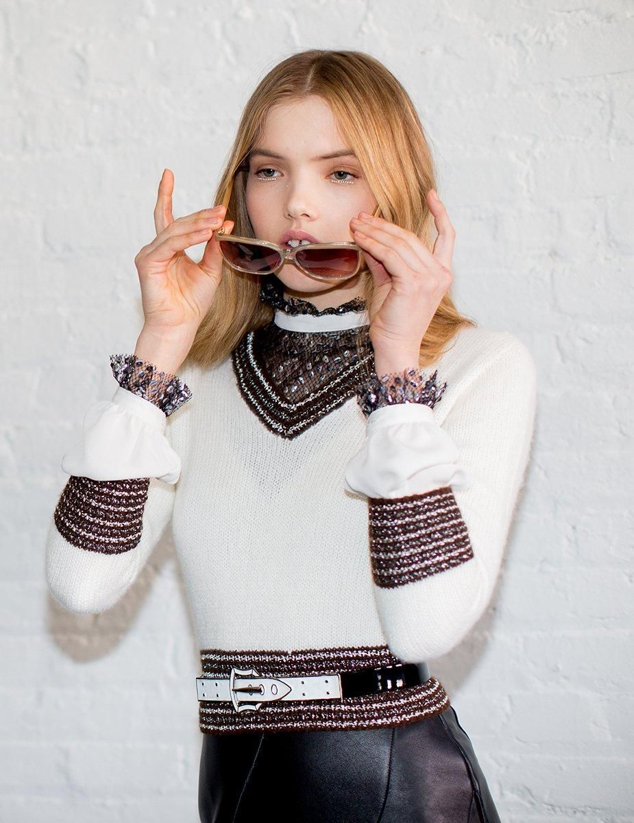 White embellished sweater perfect for a fall date night from Rodarte's fall collection