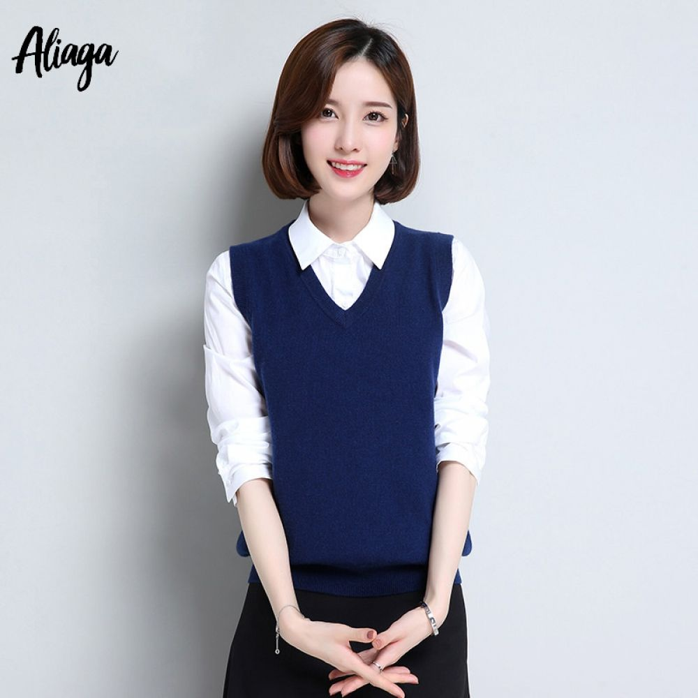 3d0186cf6ed03 100% Pure Cashmere Vest Women Pullover Knitted Vest V-neck Slim Fit Autumn  Winter
