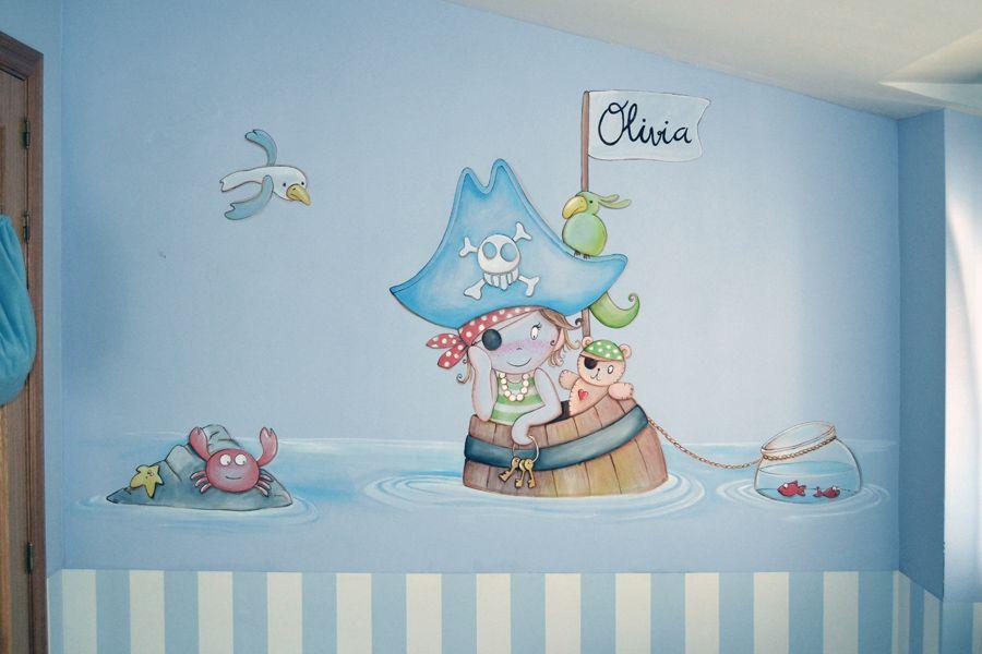 Mural barco pirata murales para habitaciones infantiles for Decoracion pared bebe nino