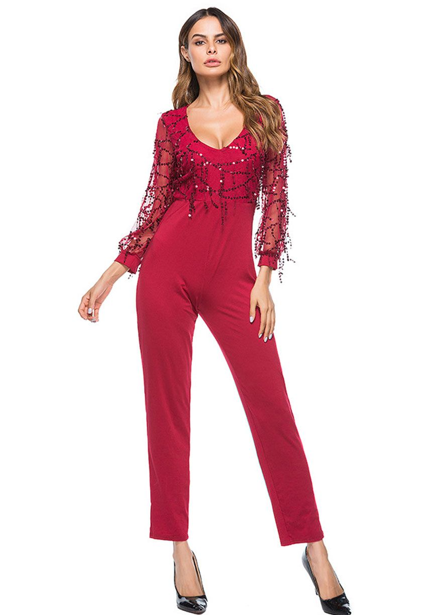 Long sleeve flowing sequins top fitted jumpsuitclubwear