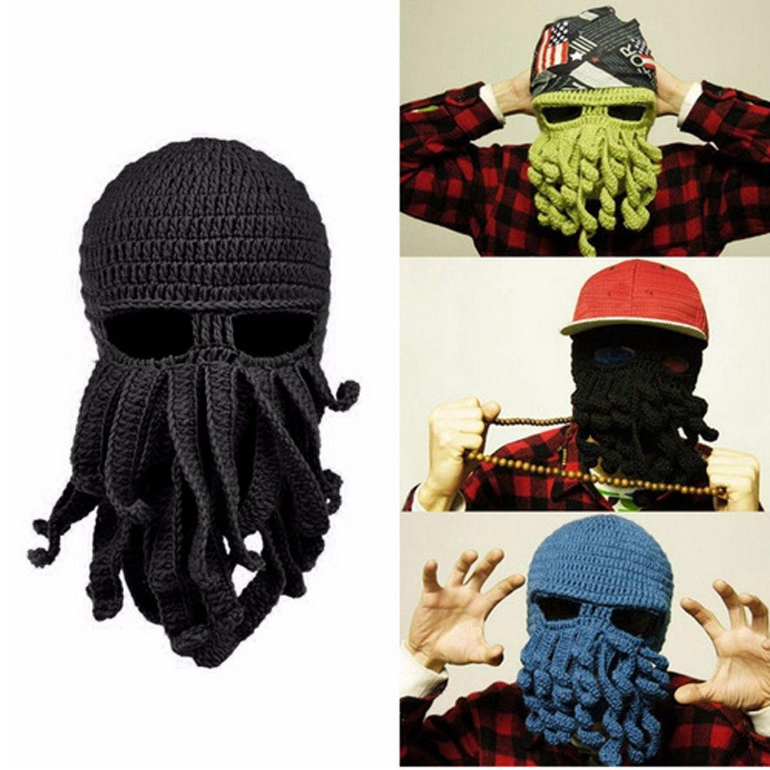 18bf1a0c9 Adults Octopus Winter Warm Knit Wool Ski Face Mask Crochet Hat Squid ...