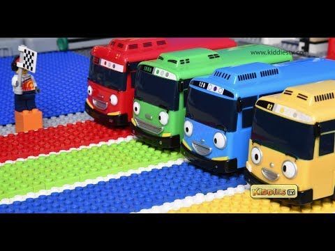 Lego And Tayo Buses Race With Hurdles Have Fun With The Bus Race