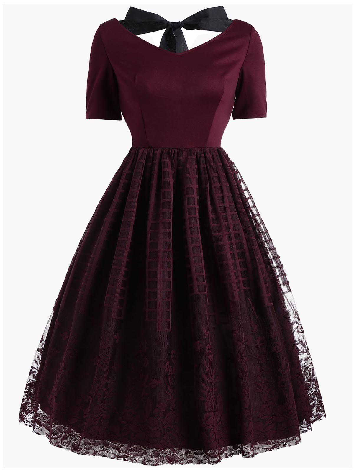 Wine Red 1950s Lace Plus Size Dress Lace Dress Vintage Casual Dresses Retro Dress [ 1600 x 1200 Pixel ]