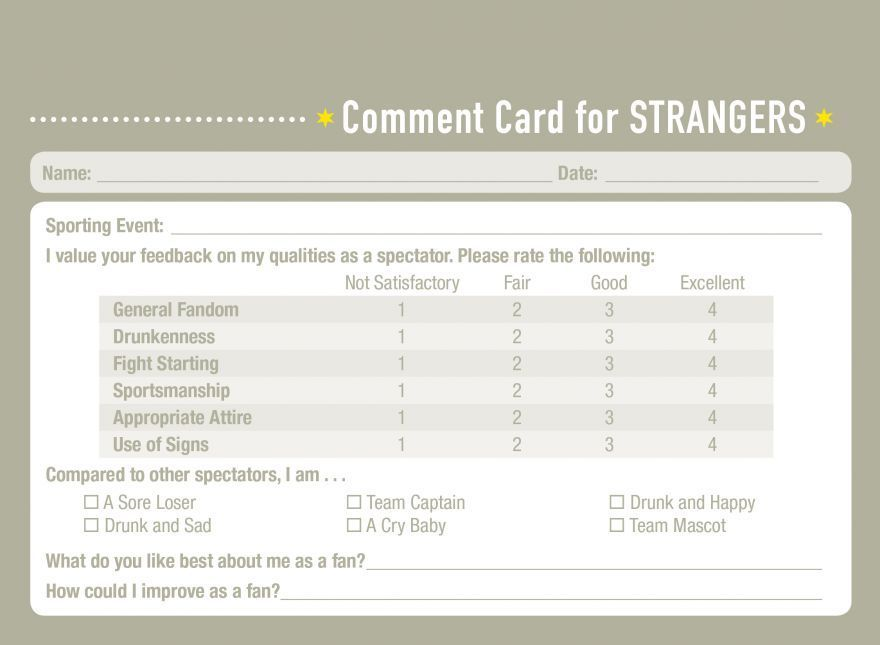 Comedian Creates Comment Cards for Personal Relationships - event feedback form