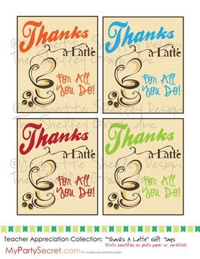 picture relating to Thanks a Latte Printable called quick down load Do-it-yourself Printable Instructor Appreciation