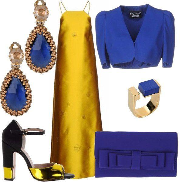 size 40 68e29 a8d10 Giallo e blu mi piaci tu: outfit donna Chic per cerimonia ...