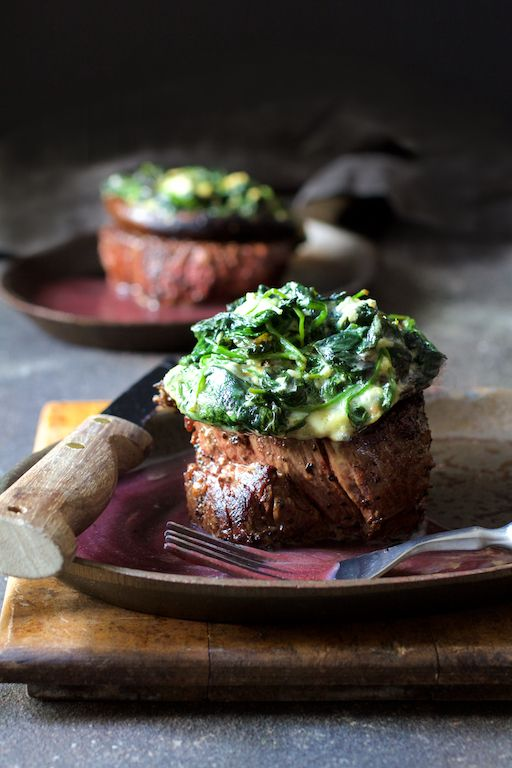 Beef Tenderloin Fillets With Spinach Cambozola Stuffed Mushrooms And Red Wine Sauce Beef Tenderloin Beef Tenderloin Recipes Tenderloin Recipes