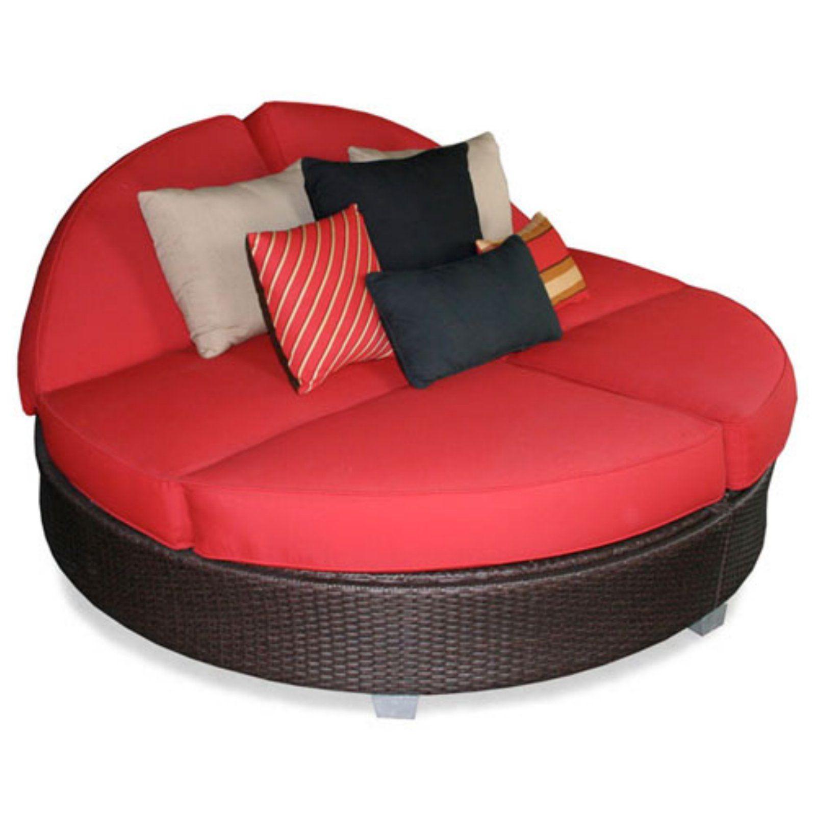 Superb Outdoor Patio Heaven Signature Round Double Chaise Sunbrella Beatyapartments Chair Design Images Beatyapartmentscom
