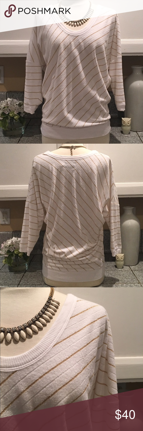 💕Juicy Couture Terry Top💕 Cute white/silver stripe Terry pullover from Juicy Couture. Perfect for this summer. Very soft and clean. In excellent condition. 💕 Juicy Couture Tops