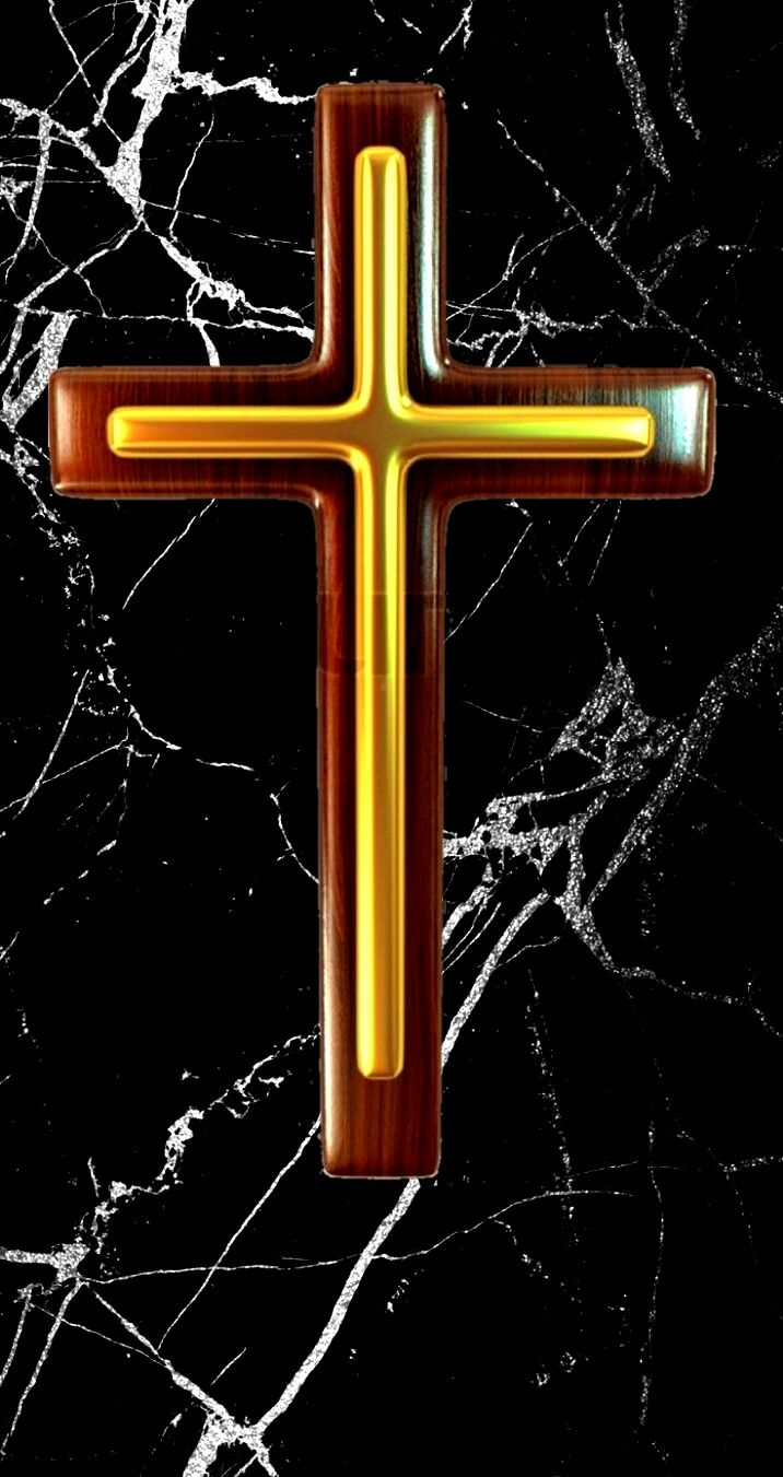 Gold Cross On Black Marble IPhone Wallpaper