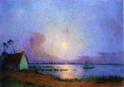 """A blue evening over the Grande Briere marsh,"" Ferdinand Loyen Du Puigaudeau (1864 - 1930)"