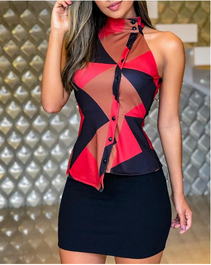 -10% for First Order Only $27.99 Geo Print Insert Buttoned Fake Two Piece Dress #america #style #can...