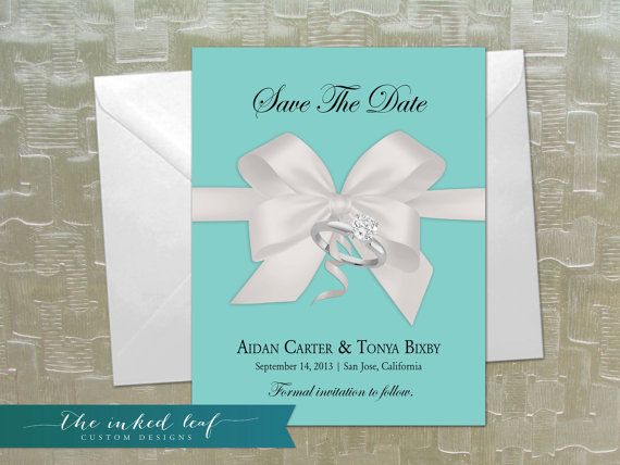 Tiffany Co Inspired Save The Date Cards Using A Picture