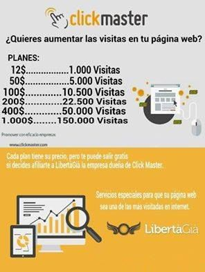Hola.  Pagina de publicidad para empresas,adjunto las tarifas y las paginas:  http://www.clickmaster.com/ http://news.libertagia.com/  Si deseas mas informacion, contacta conmigo.  Un saludo.  Fernando Torrado Rivas 695166752