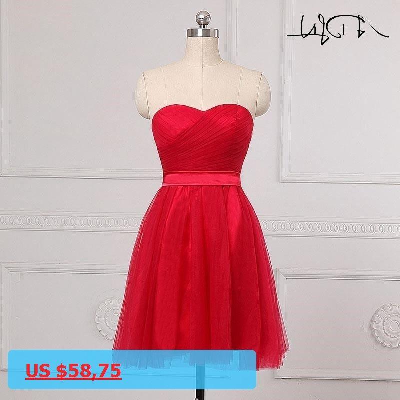 a44c2be2f9b ADLN Cheap A-Line Red Bridesmaid Dresses With Pleat Robe de Demoiselles  dhonneur pour Mariage · Party WearBridesmaid DressesWeddingDressBridesmade  ...