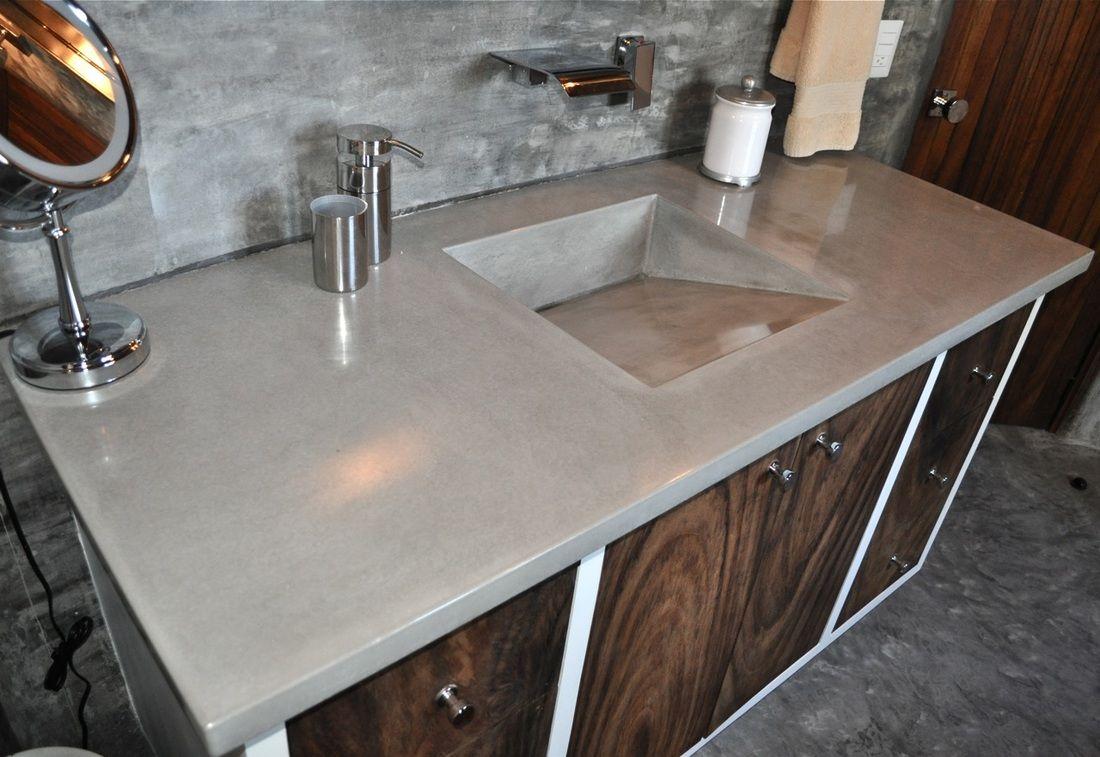 Casa Tres Vistas Master Bath Concrete Ramp Sink Vanity