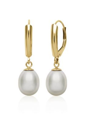 Belk  Co.  14k Yellow Gold Freshwater Pearl Earrings