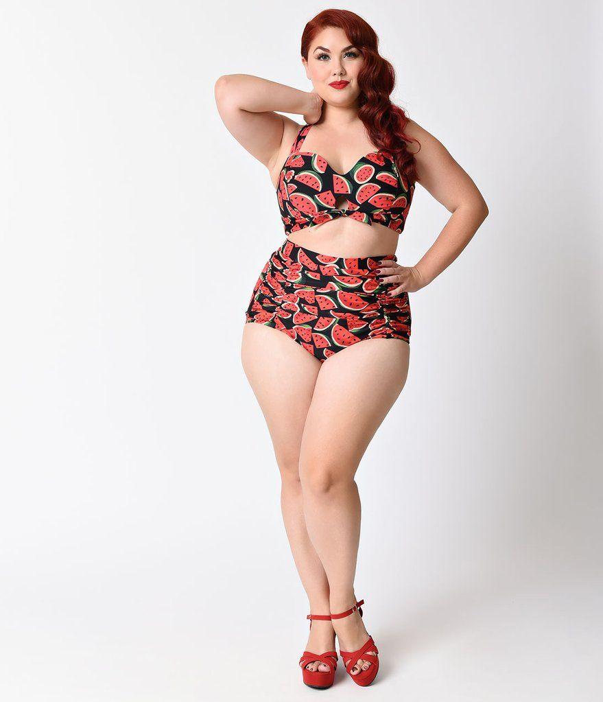 ee81228be2f Unique Vintage Plus Size Black & Pink Watermelon Halter Mrs. West Swim Top