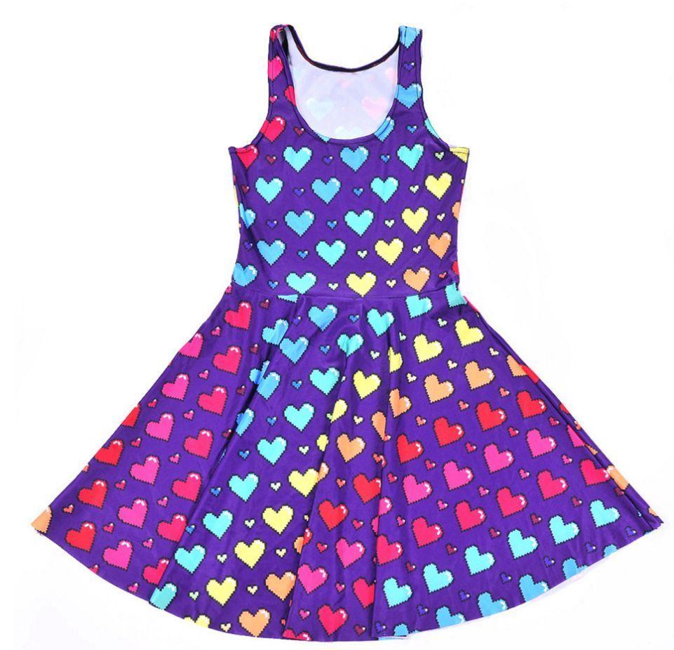 Kawaii Video Game Cute Purple Rainbow Heart Skater Dress S M L XL ...