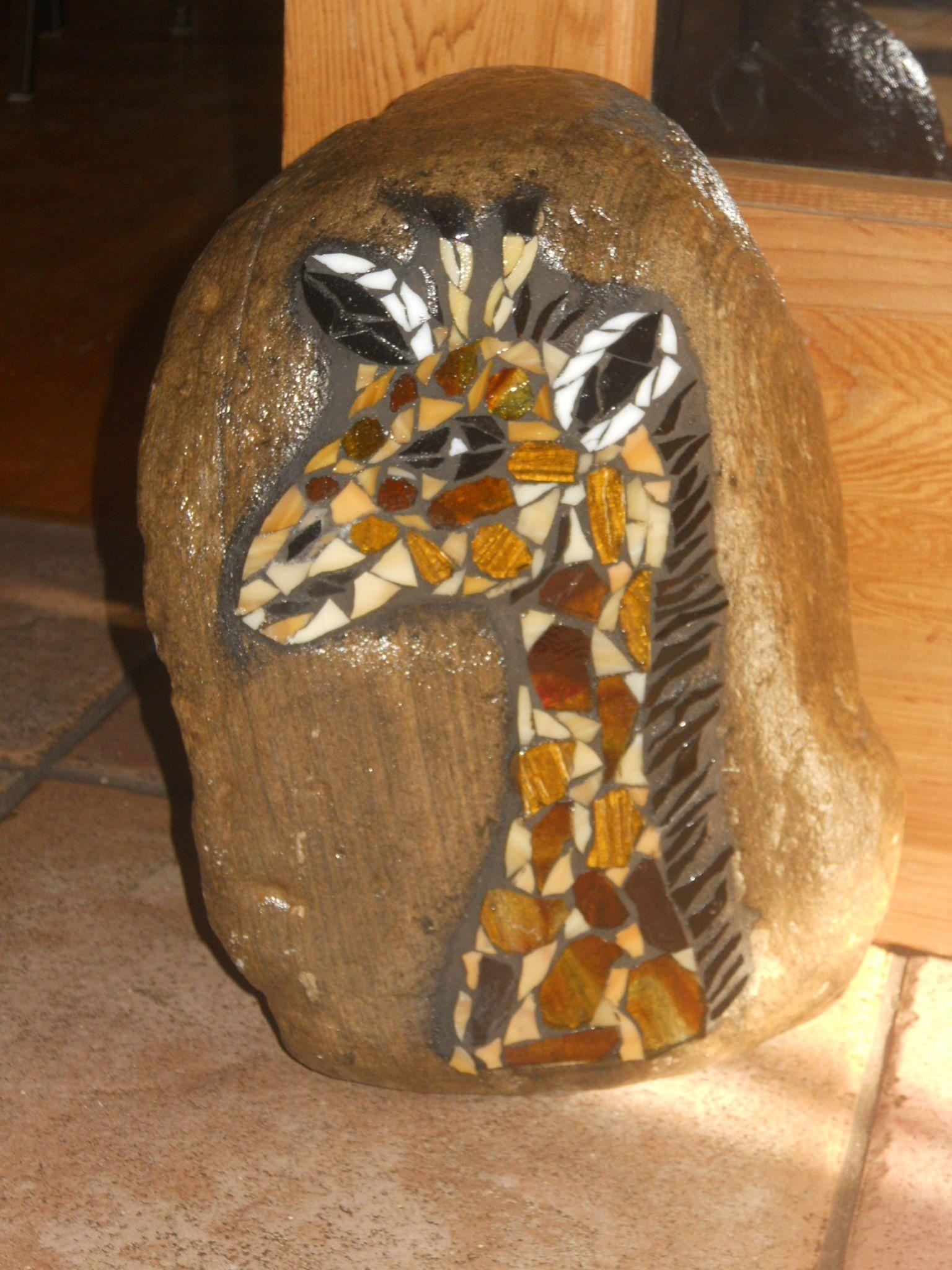 Mosaic Giraffe Doorstop Made of recycled glass