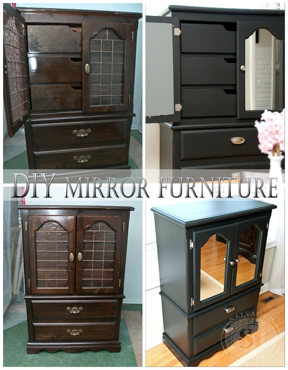 DIY Mirrored Furniture. This Is A Really Inexpensive Way To Update Outdated  Furniture By Adding Mirror. Easy To Custom Cut With A $5 Tool.