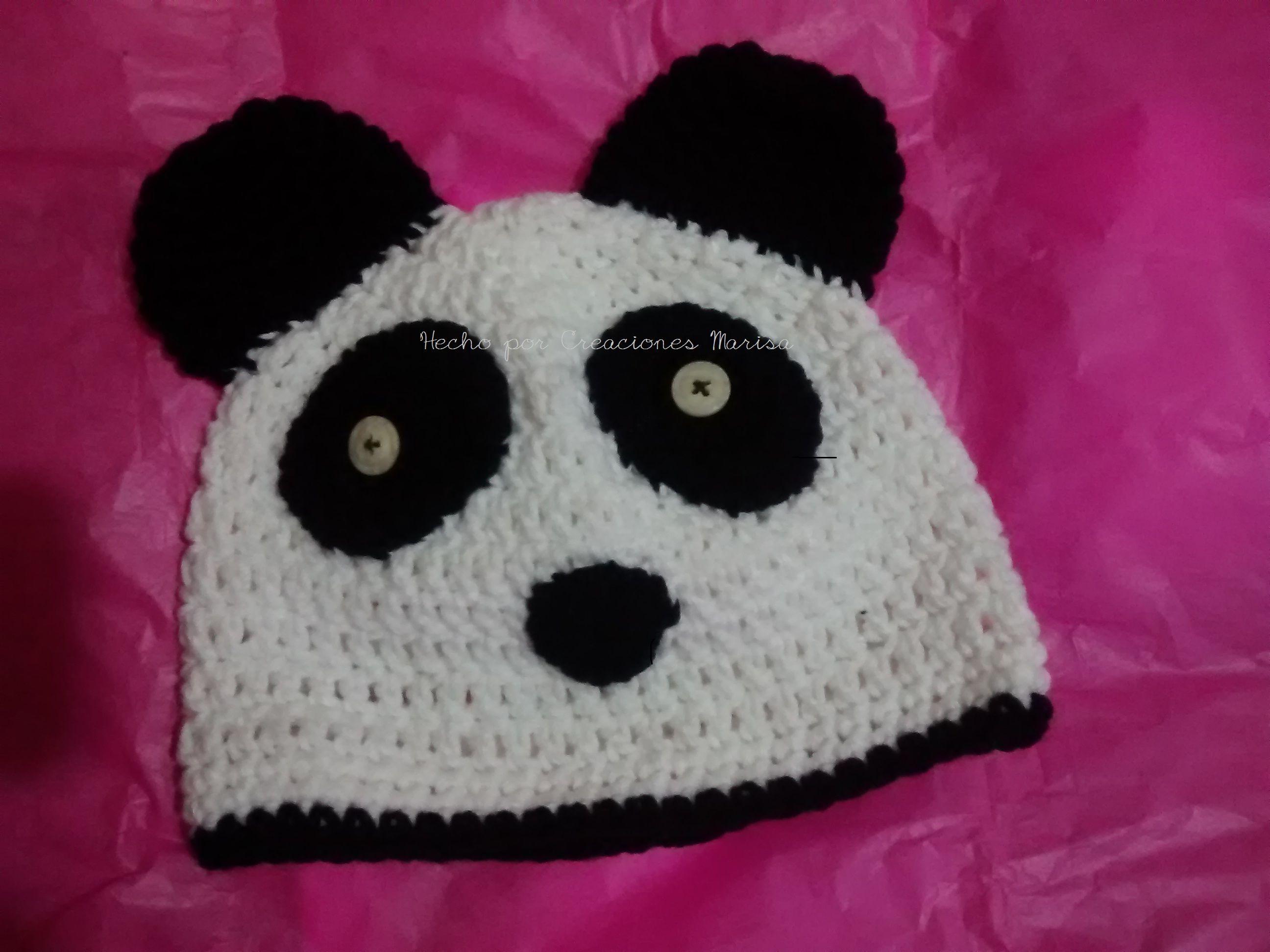 3e53a663999 gorro tejido en crochet oso panda Gorro De Panda